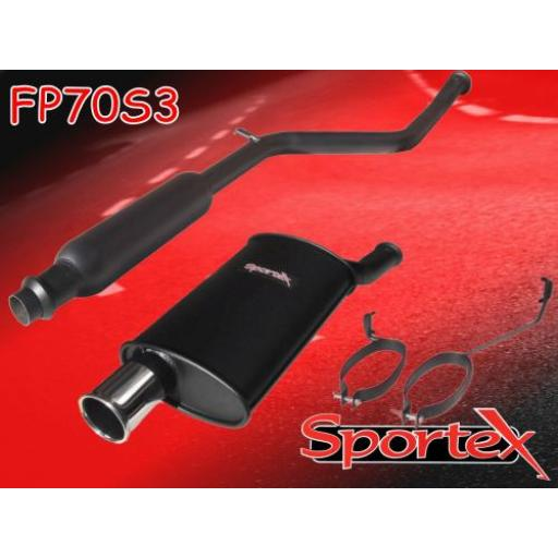 Sportex Peugeot 206 1.6i 8v performance exhaust system 1998-2000 S3